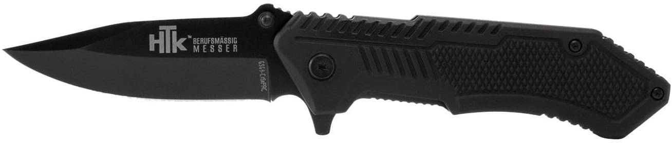HTK GSG9 CR5X Spring Assist Rubberized Handle Belt Clip Straight Blade, 3.3
