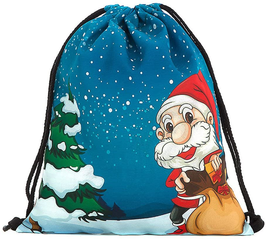 UOKNICE Christmas Candy Bag Bundle Pocket Santa Claus Snowman Printed Bags Backpack Xmas Gift Decorations