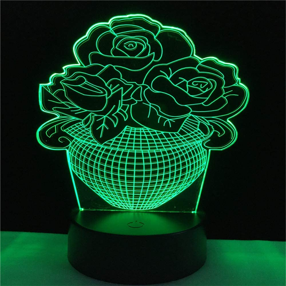 Led8N 3D LED Optical Illusion Lamps Night Light,7 Colour Changing LED Bedside Lamps for Kids with Acrylic Flat,ABS Plastic Base,USB Charger Flower Pot