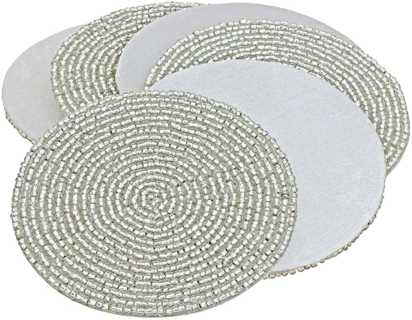 Prisha India Craft Handmade Silver Beaded Tea Coasters Diameter 4