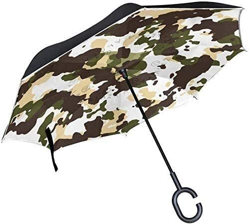 ASDF Inverted Umbrella Camouflage Pattern Double Layer Reverse Umbrella with C-Shaped Handle