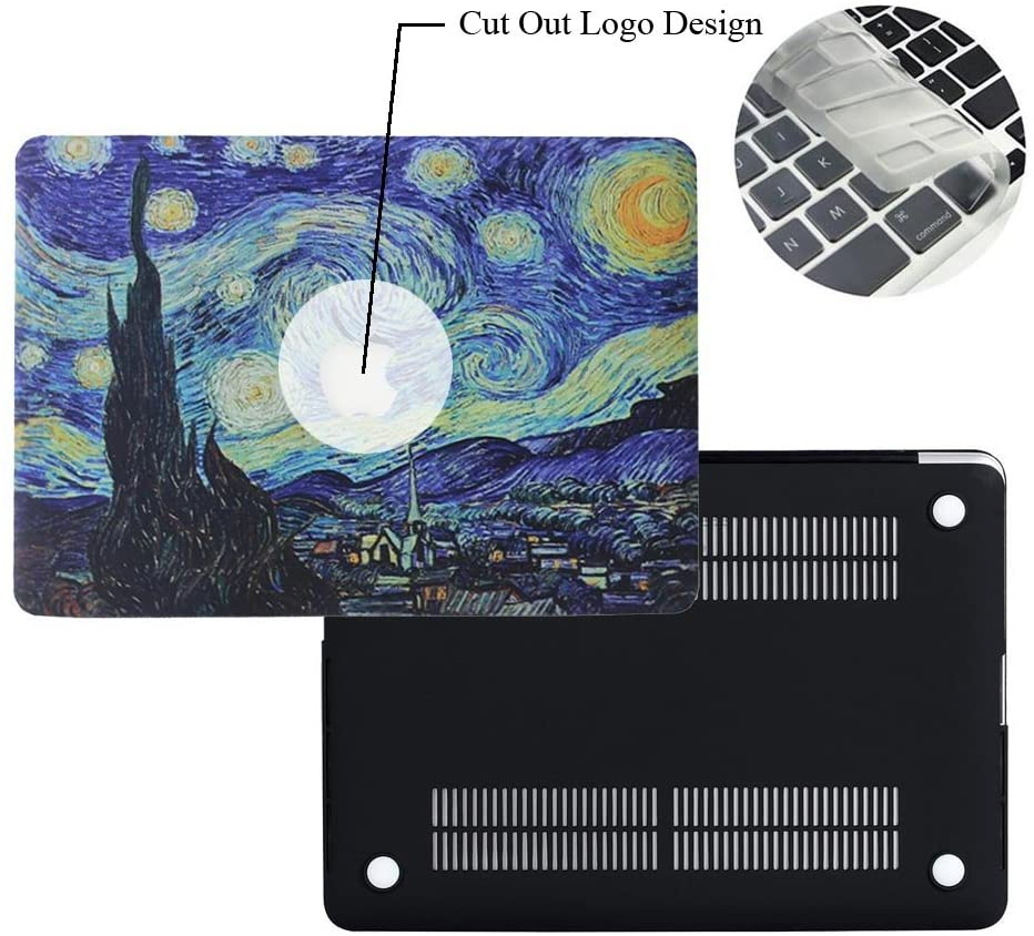 Rinbers 3D Print Cut Out Logo Ultra Slim Hard Shell Case Snap-On Top&Bottom Hard Cover Case with KB Skin for MacBook 12 inch with Retina Display (Model: A1534) - Van Gogh Galaxy Starry Night
