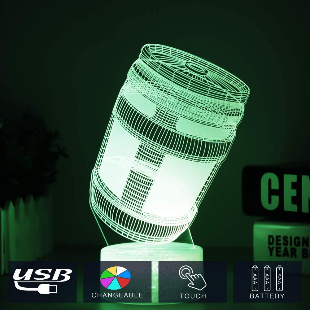 Fortress Battle Royale LED Lamp Lights 7 Colors Changing USB Touch Lampada 3D Optical Illusion Lamps Bulbing Lampen Children's Room Decor Holiday Light (Crack Energy Box)