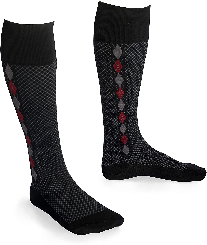 EvoNation USA Made Men & Women Quilted Mini Argyle Graduated Compression Socks 15-20 mmHg Medical Quality Knee High Orthopedic Pressure Support Stockings Hose - Best Fit Comfort Top (Medium, Black)