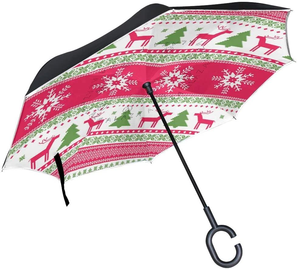 Vipsk Umbrella Reverse Retro Christmas Tree with Deer Creative Cars Umbrella Double Layer Inverted Umbrella Windproof Straight Waterproof Inside Out Travel Umbrellas