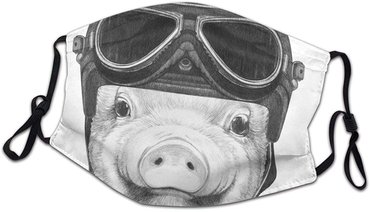 SLHFPX Diving Piggy with Vintage Helmet Face Bandanas for Kids Boys Girls Dust-Proof Facial Protective