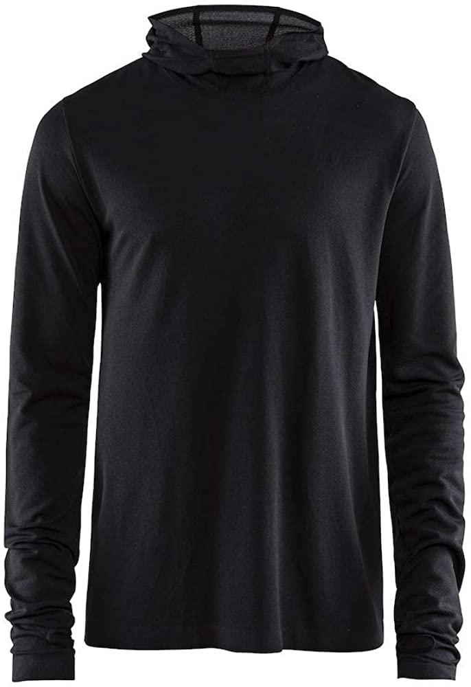 Craft Sportswear Men's Core Fuseknit Hooded Athleisure Wicking Sport Long Sleeve Shirt, Black, Small