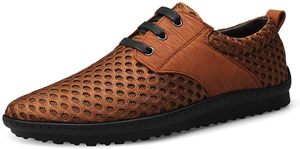 ChicWind Men's Quick Drying Lace Up Casual Oxford Walking Shoes Light Brown