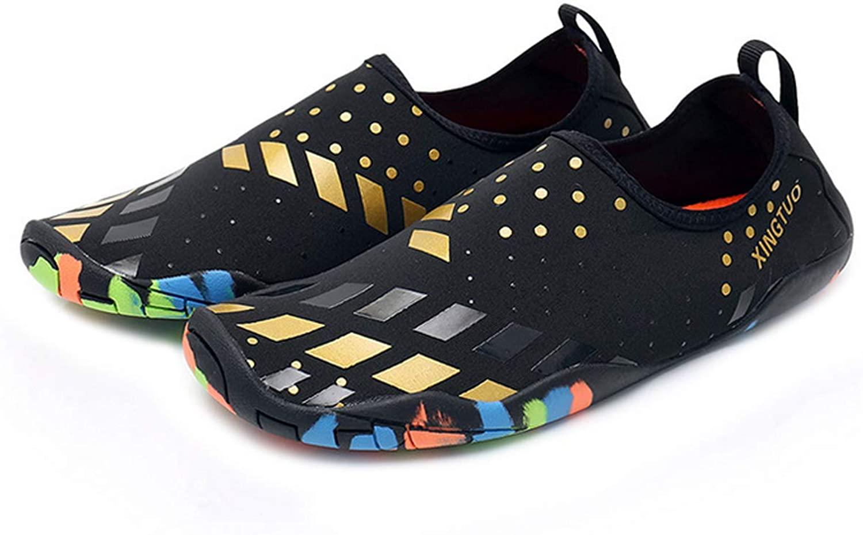 Bestgift Men's Women's Quick-Dry Non-Slip Flexible Beach Shoes Black+Gold 40-41
