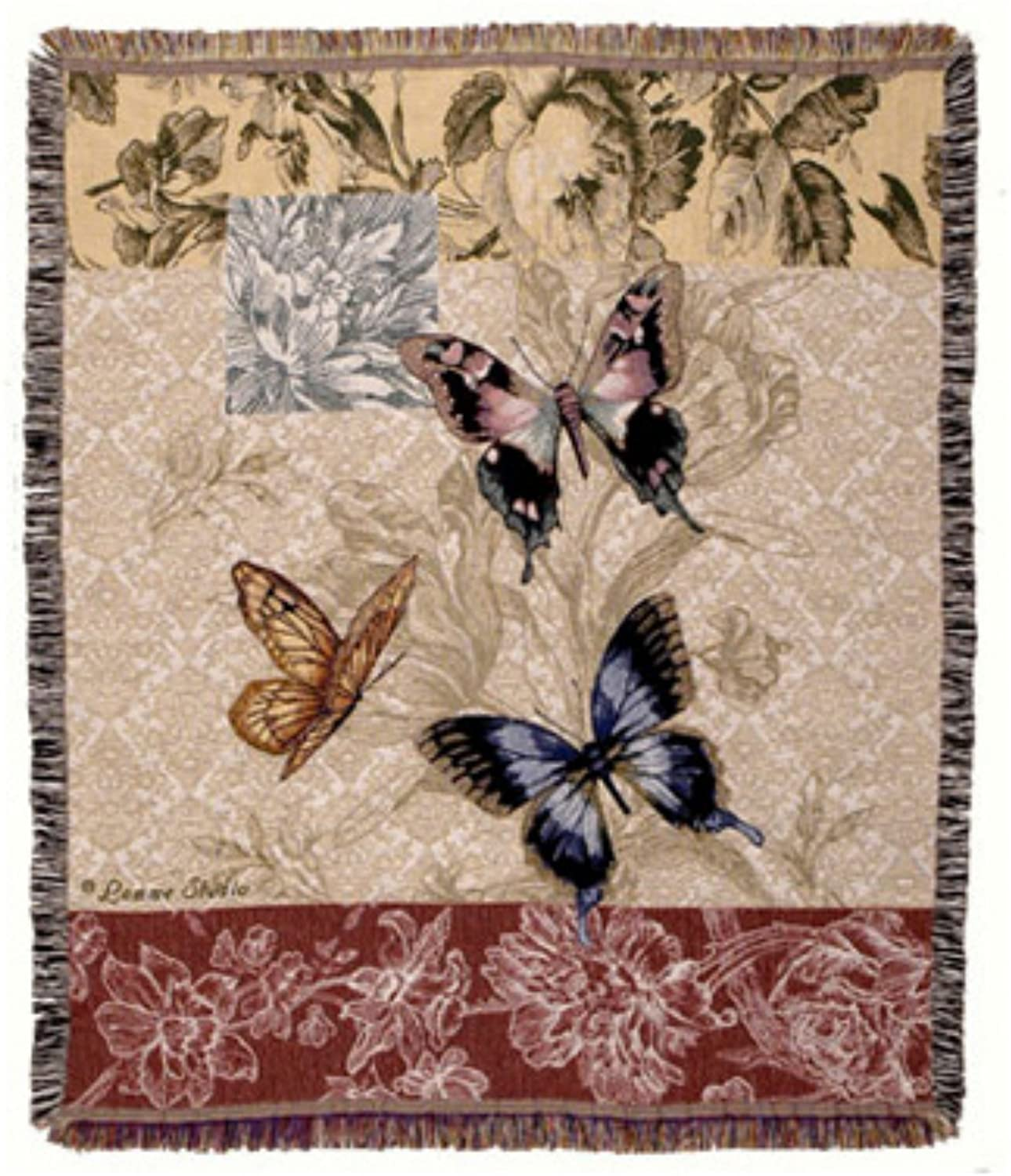 Simply Home Butterfly Floral Collection Tapestry Throw Blanket