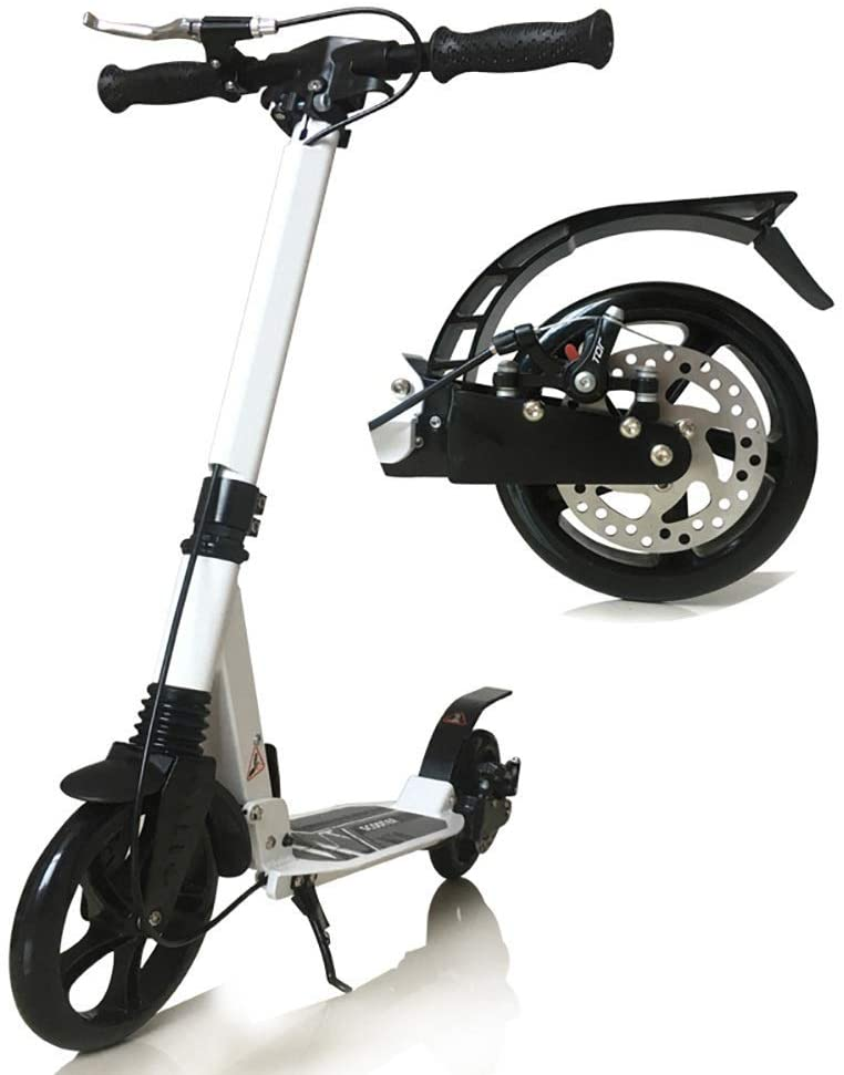 PLLP Outdoor Sports Scooter Kick,White Folding Adult Kick with Disc Brake, Non-Electric Shock Absorbing City with Handle Big Wheels, 150Kg Load Adult Child Toy Balance Car Mini