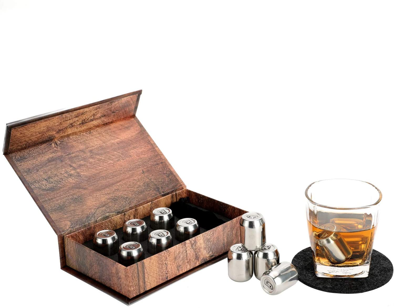 Stainless Steel Ice Cubes for Whiskey, Reusable Chilling Stone Freezer, 6pcs a Set with a Storage Bag