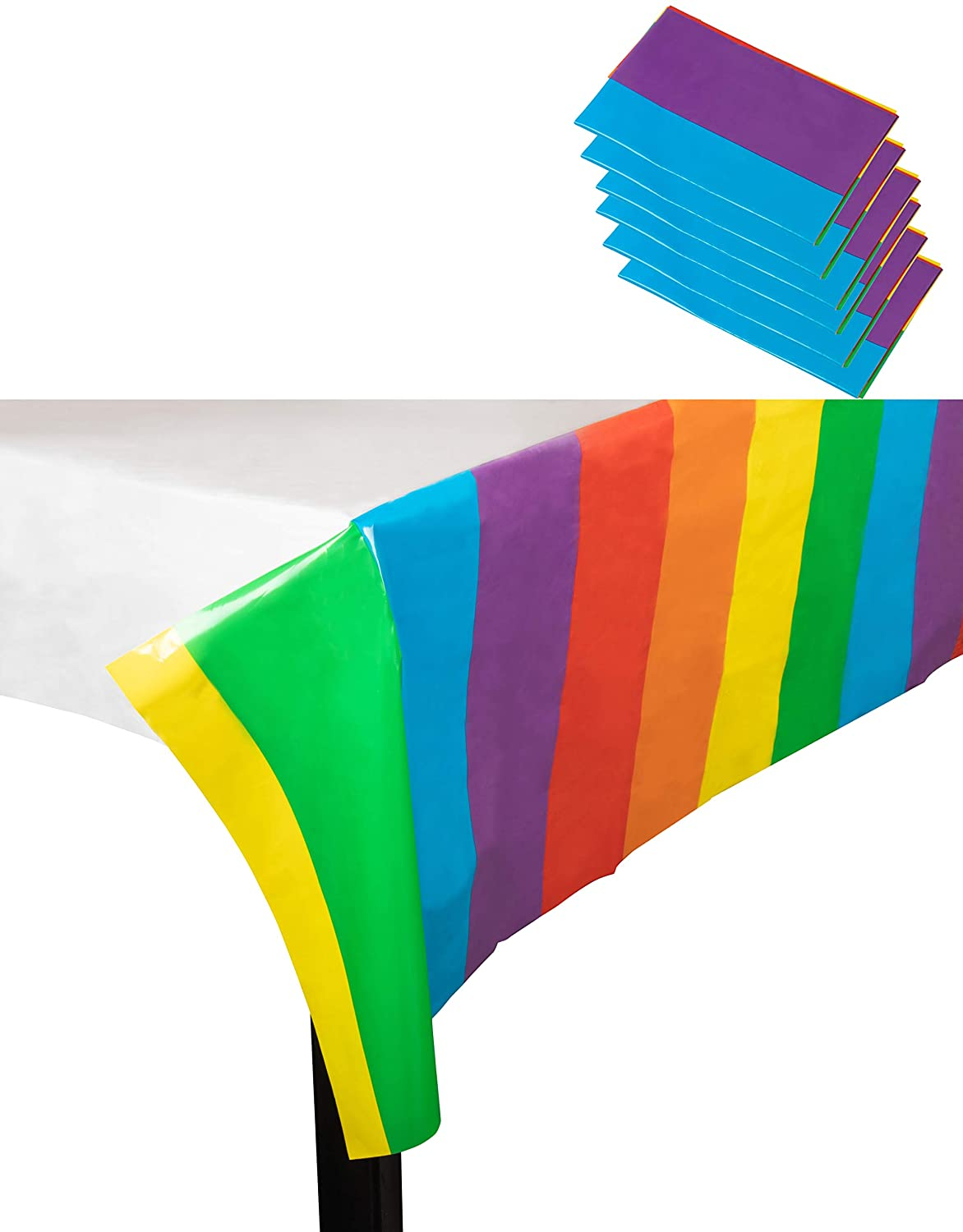 Gay Pride Table Cloth, Rainbow Flag (54 x 108 in, 6 Pack)