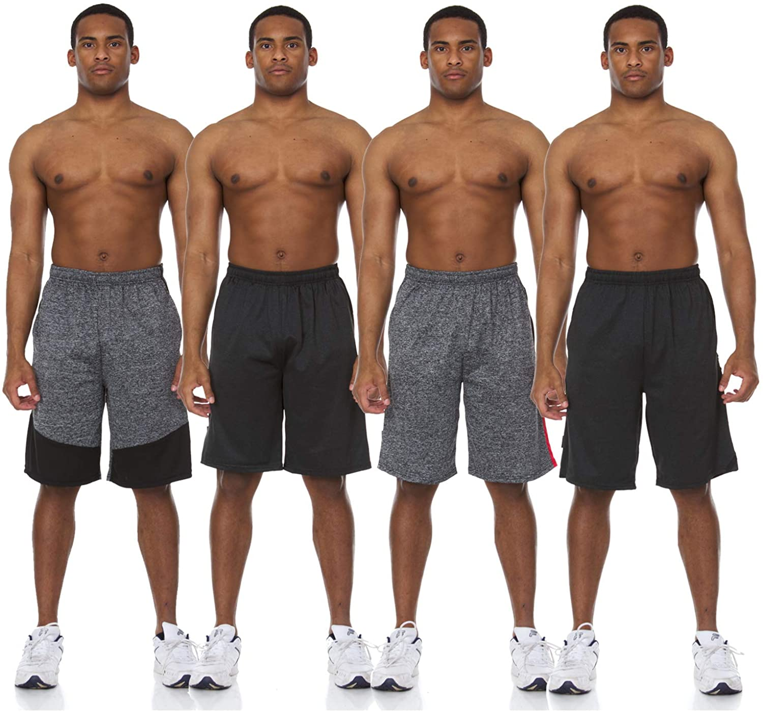 4 Pack: Men's Active Performance Athletic Basketball Gym Knit Shorts with Pockets Big and Tall S-4XL