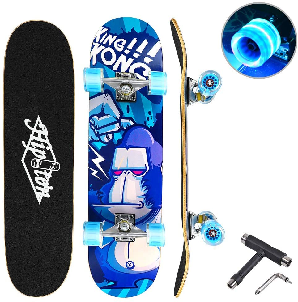 Hipoten Skateboard - 32 Complete 8-Layer Canadian Maple Wood Tricks Professional Skateboard with Upgraded Widened Wheels, for Beginner/Adult/Youth/Kids Balance Development