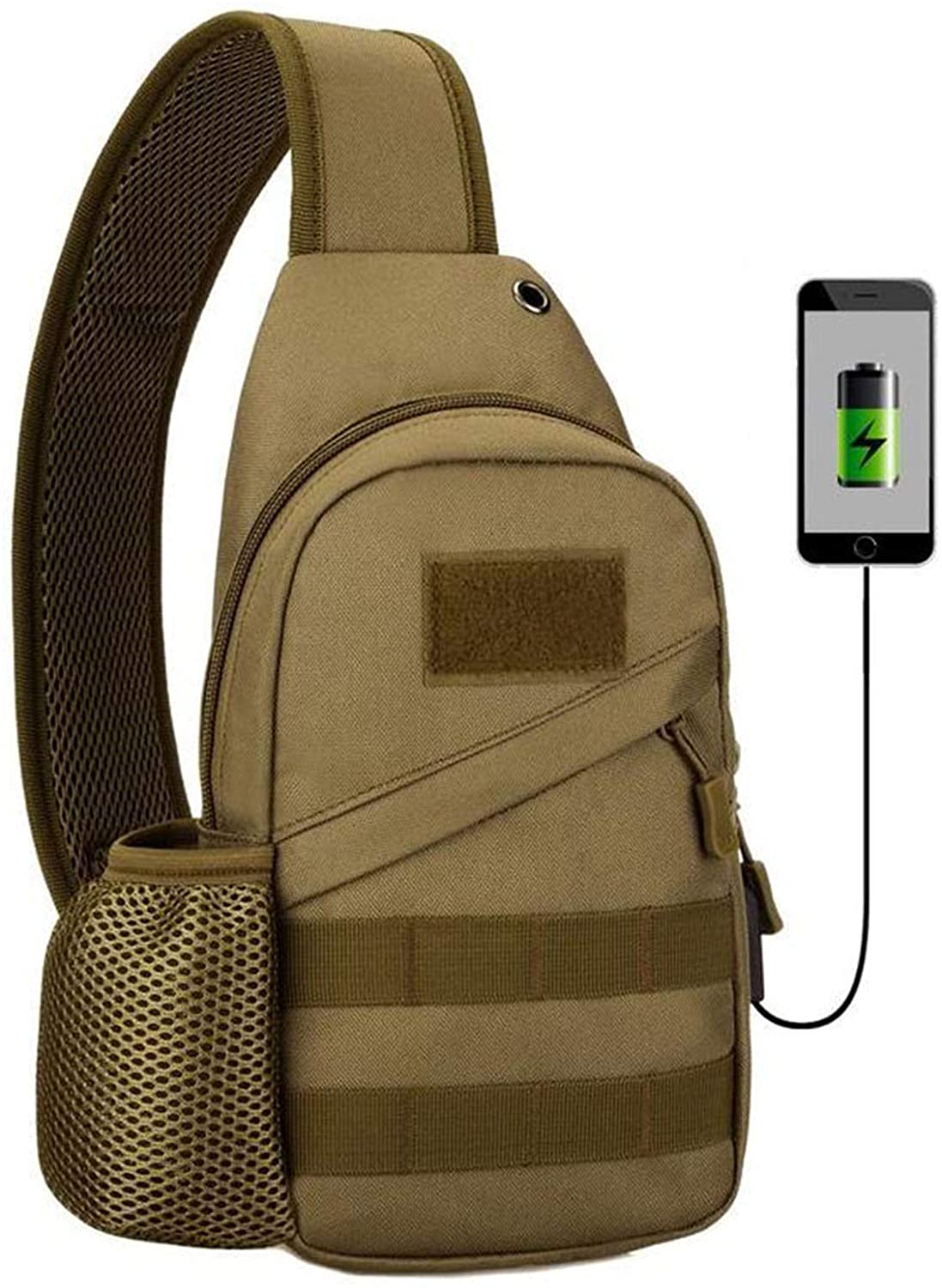 Compact and lightweight Sling Backpack with USB Charging Port & Headphone Hole Chest Shoulder Backpack Crossbody Bags