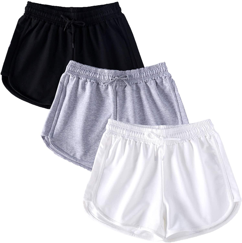 NEWITIN 3 Pack Women Casual Running Shorts Yoga Short Sport Shorts for Women Girls, 3 Colors