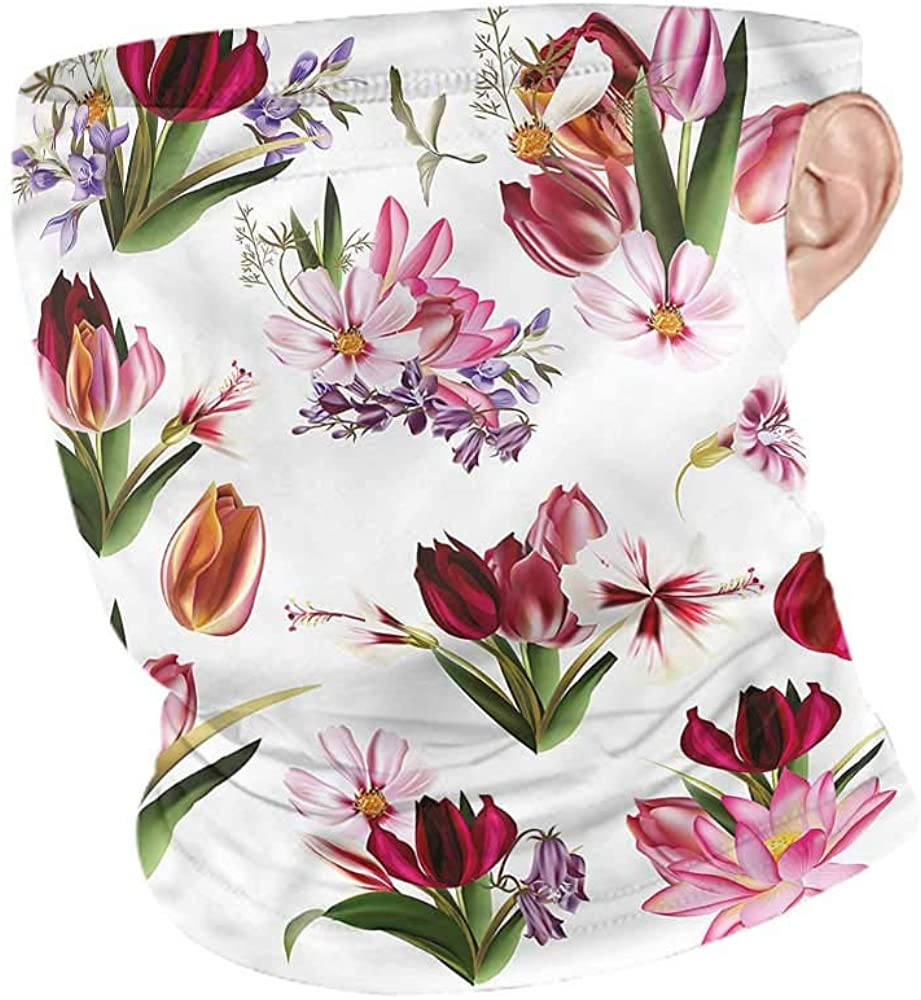 Face Cover Floral,Collection of Flowers Headband Neck Gaiter