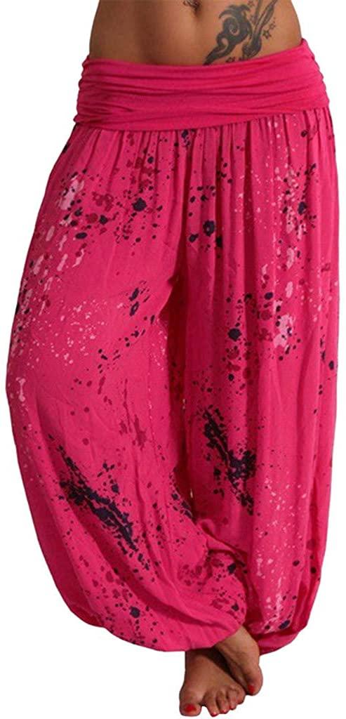 Fitfulvan Women's Yoga Pants,Women Casual Loose Yoga Printed Trousers Baggy Boho Aladdin Jumpsuit Harem Pants