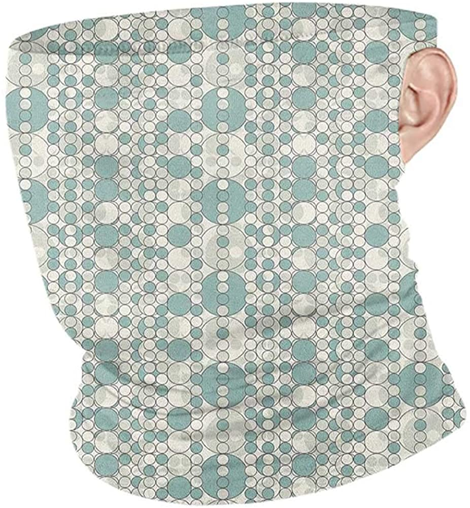 Neck Gaiters Summer Retro Abstract Circles Linked Round Geometric Forms in Soft Faded Tones Artwork,Headband Neck Gaiter Almond Green White 10 x 12 Inch