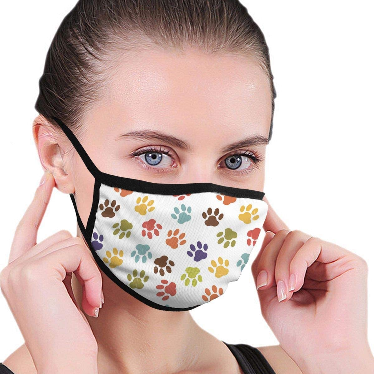 Anti Dust Breathable Face Mouth Mask Colorful Dog Paw Print Washable Face Mask for Cycling Camping Travel