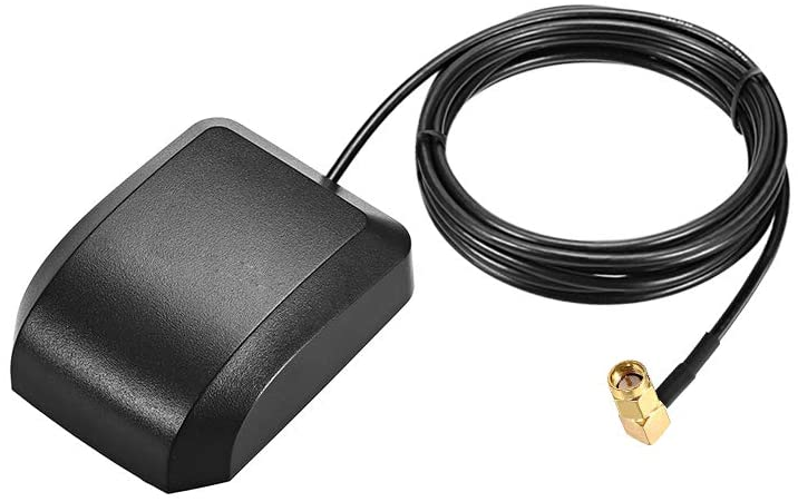uxcell GPS Active Antenna SMA Male Plug 90-Degree 34dB Aerial Connector Cable with Magnetic Mount 2 Meters Wire L