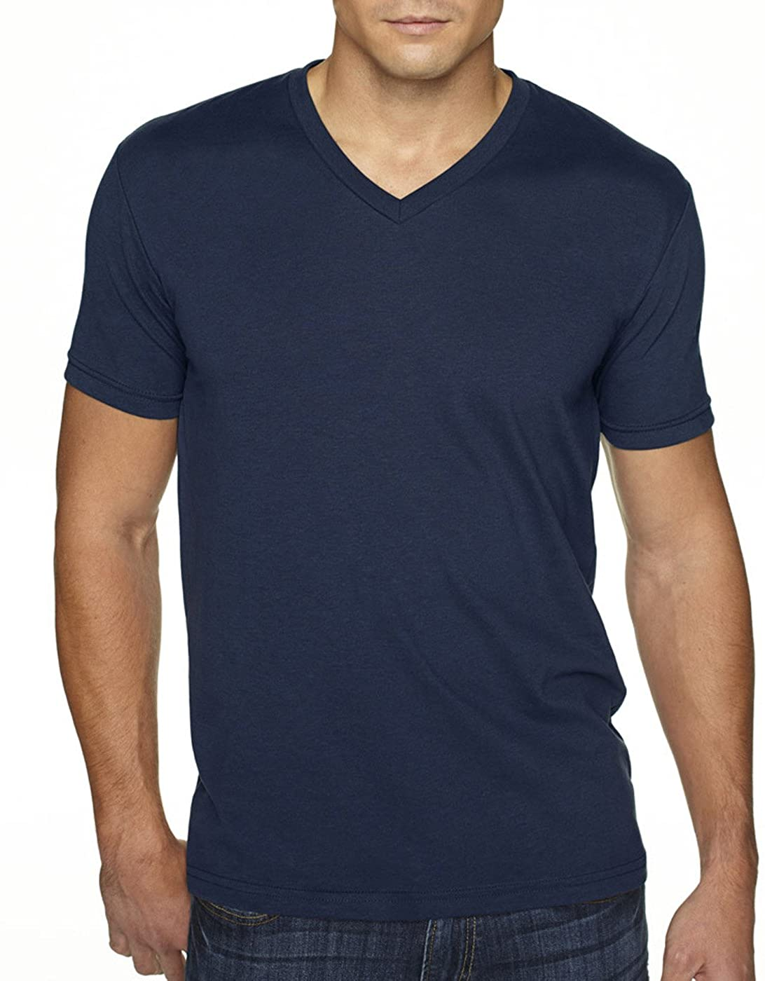 Next Level Apparel 6440 Mens Premium Fitted Sueded V-Neck Tee -2 Pack, Midnight Navy + Black (2 Shirts) - Large