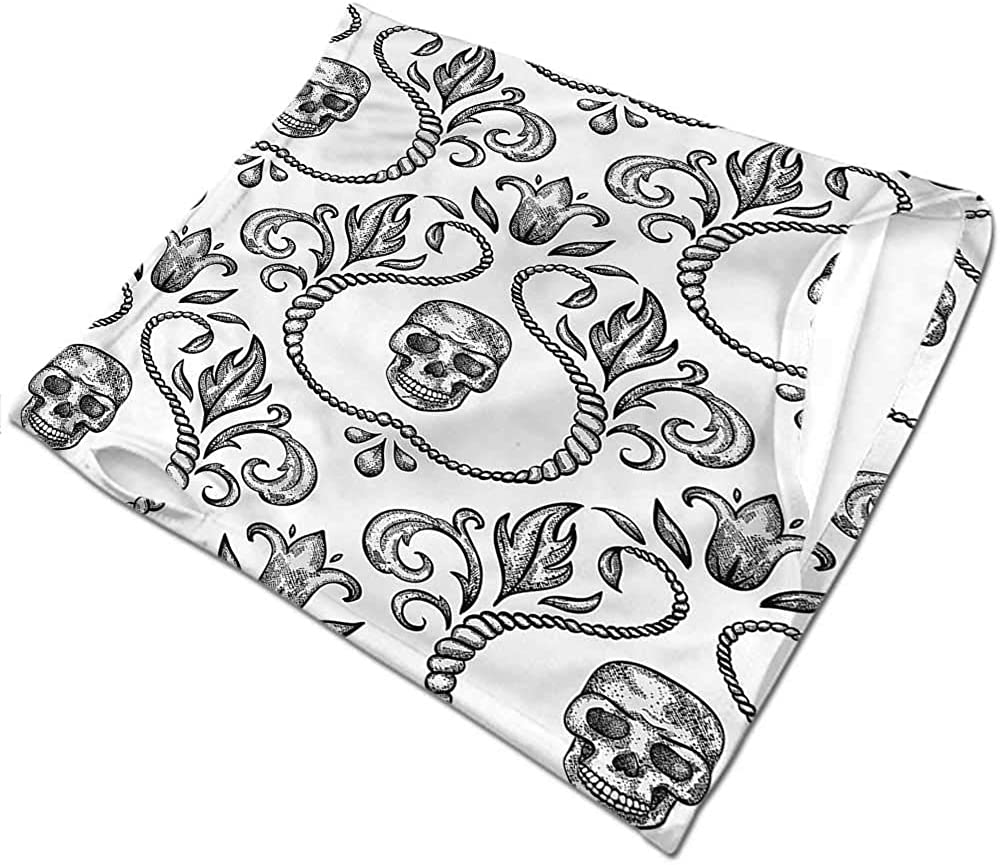 VIVIOTendance Neck Warmer Gothic,Ornamental Skull and Flowers Breathable face Covers