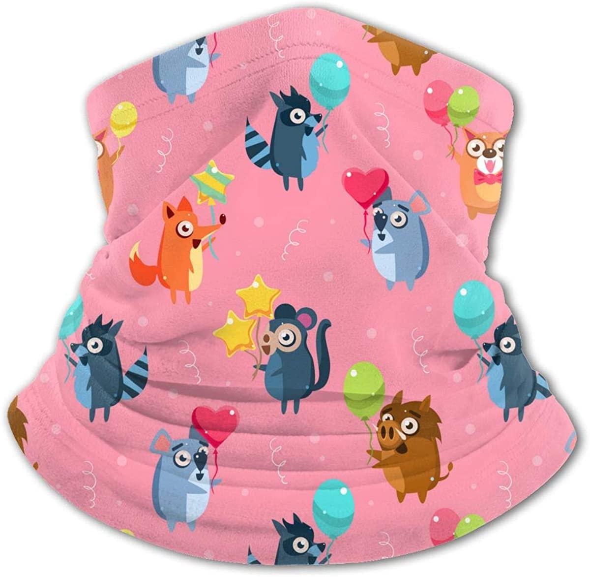 Cute Funny Animals with Colorfu Kids Bandanas Reusable Washable Neck Gaiter Balaclava,Half Face Protective Masks