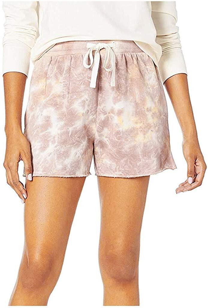 ZEFOTIM Fashion Women's Side Slit Tie-dye Casual Print Elastic Waist Pockets Home Shorts