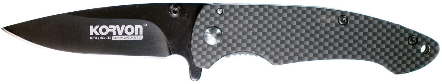 Adventure Knives Korvon K2FX Acv-33 Spring Assist Compact Heavy Weight Belt Clip Straight Blade