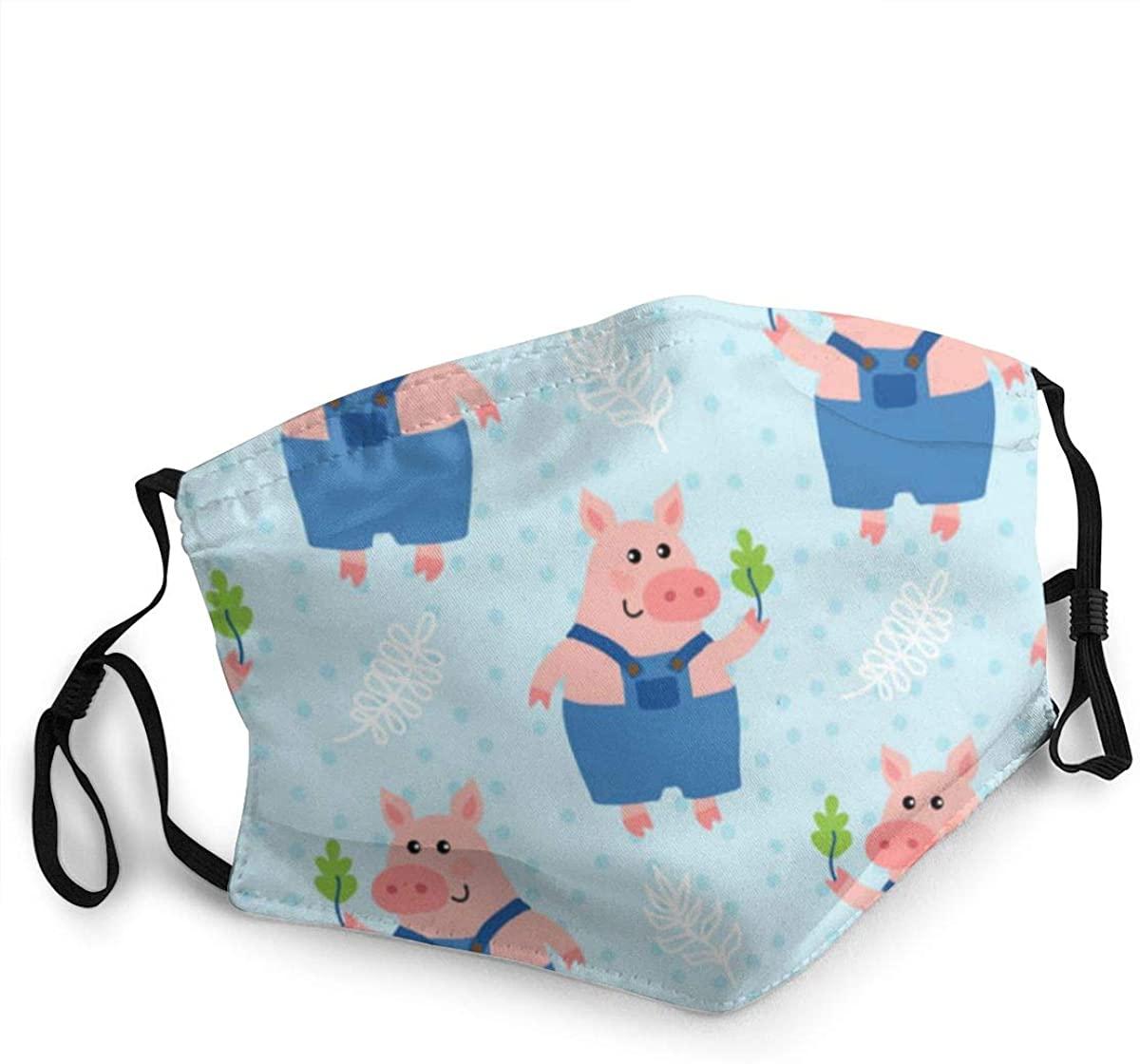 Fashion Protective Face Masks, Cute Cartoon Pig Unisex Dust Mouth Masks, Washable, Reusable Masks