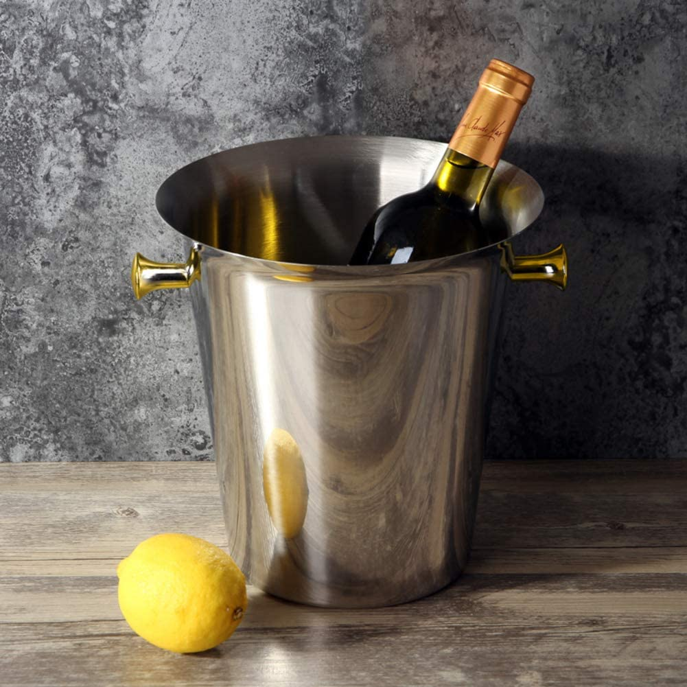 Champagne Wine Ice Bucket, European Beverage Bucket Ice Cube Container Wine Chiller Cooler Party Barware Carry Handle-b 21x23cm(8x9inch)