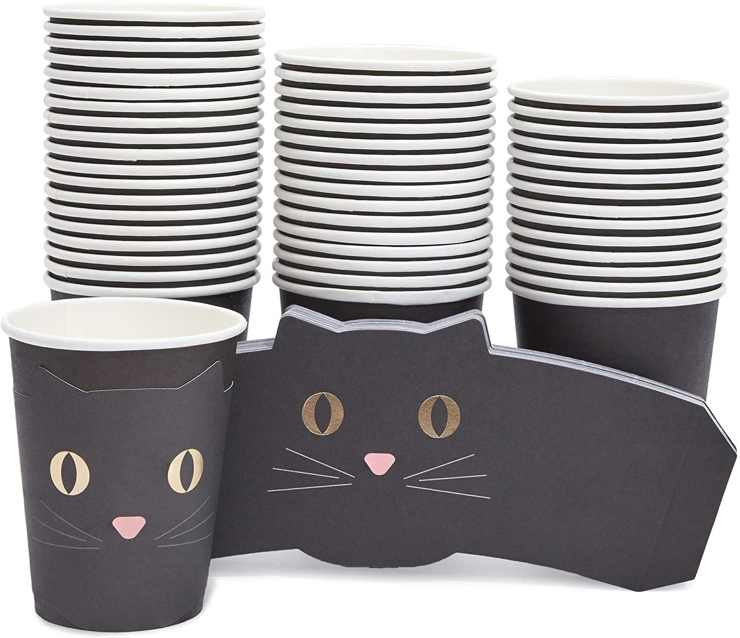 Blue Panda Halloween 9 Ounce Paper Party Cups and Die-Cut Cat Sleeves (50 Pack)