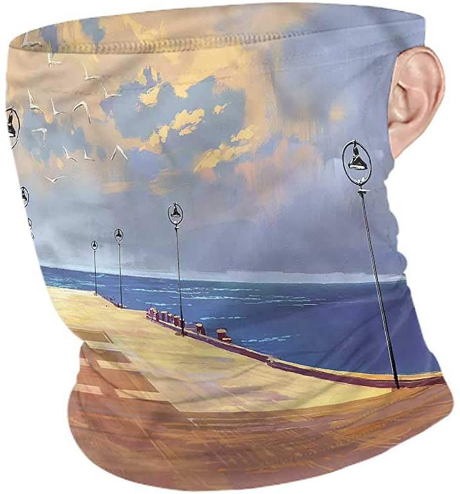 VIVIOTendance Neck Gaiter Fantasy,Bridge Pier Sea Harbor Winter Neck Gaiter