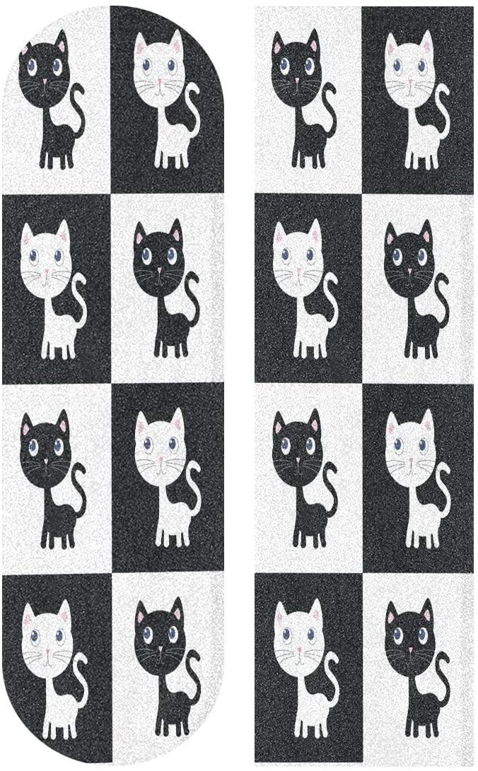 Skateboard Grip Tape Sheet 33 X 9 Inch - Seamless Cat Pattern Print Sandpaper for Rollerboard Longboard Griptape Bubble Free Skate Tape