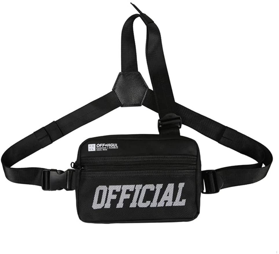 Ousawig Chest Rig Bag Tactical Rigs Bags Fashion Fanny Pack Molle Utility Vest Harness Holster for Men Women (black1)