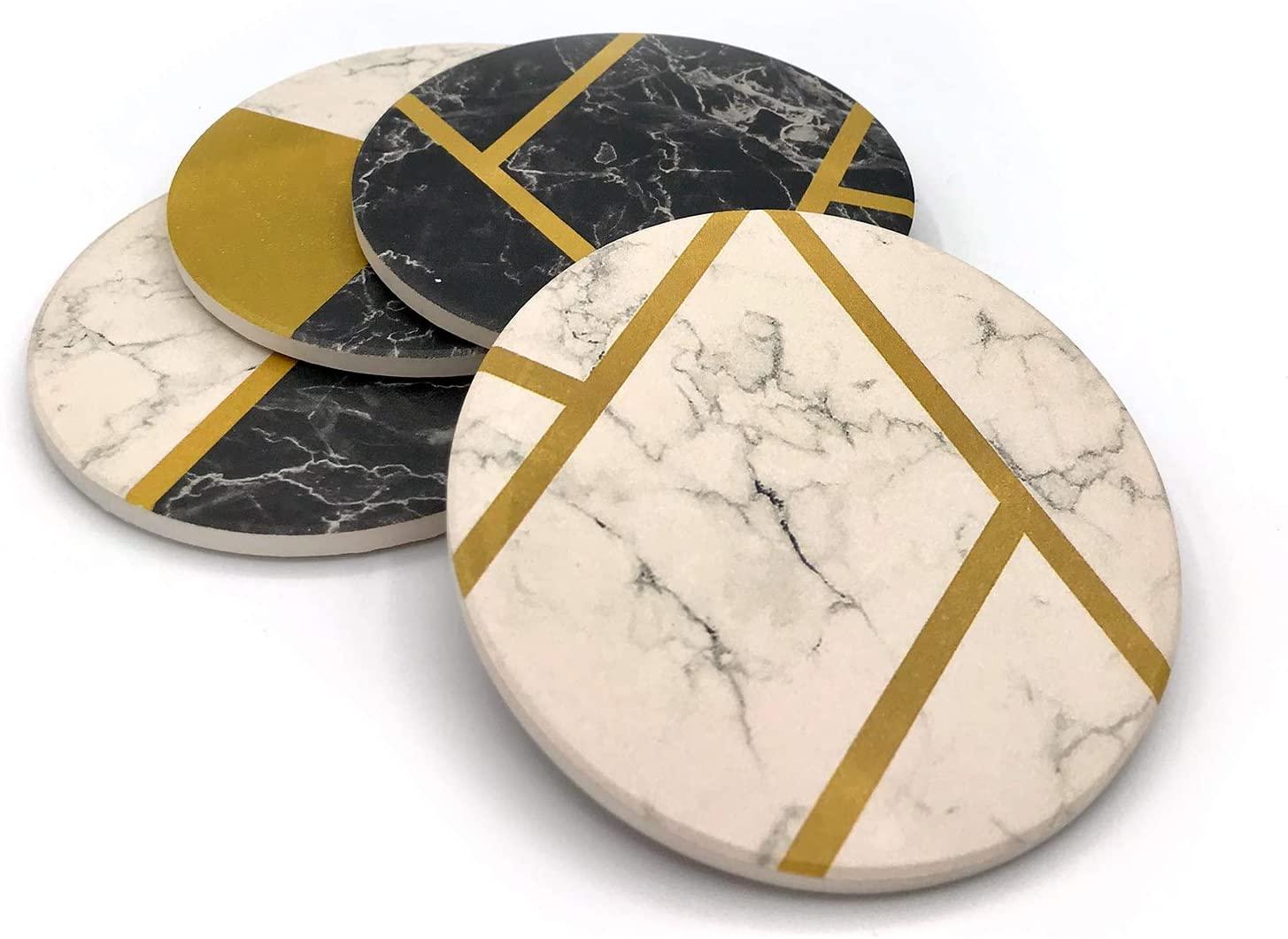 KLONDERMANN Set of 4 Fancy Absorbent Stone Coasters for Modern Homes
