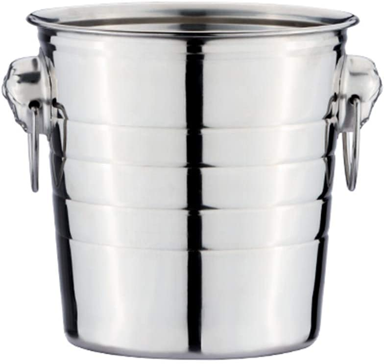 IC&EO Stainless Steel Ice Bucket,Thick Ice Wine Container Party Beerbarrel Wine Chiller Camping Beverage Bucket Cooler Carry Handle-7l 26x23cm(10x9inch)