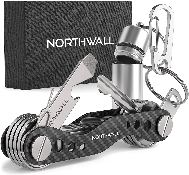 Smart Compact Key Organizer Holder Keychain - Made of Carbon Fiber & Stainless Steel - Pocket Organizer Up to 28 Keys - Lightweight & Strong - Includes Bottle Opener, Carabiner, Cash Fob & More