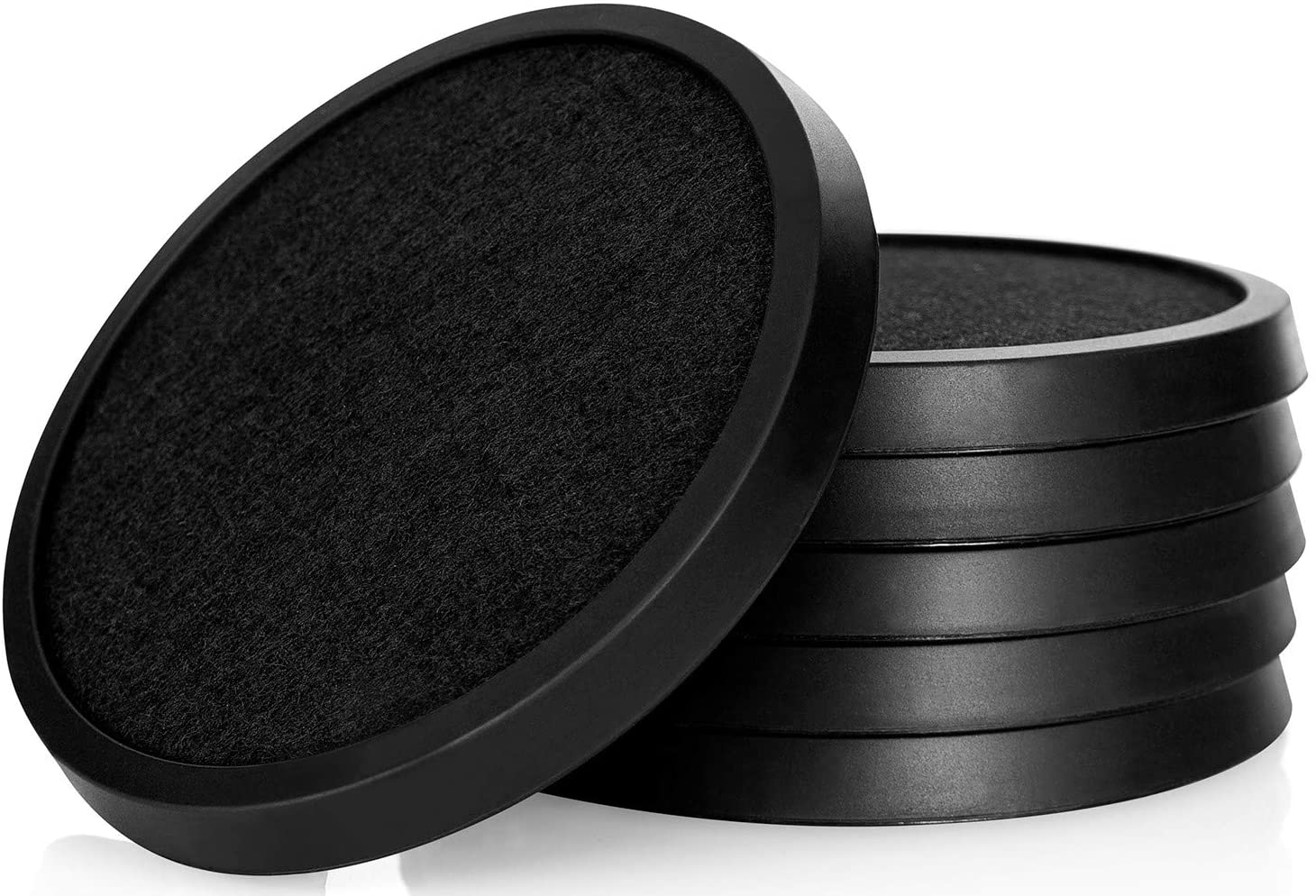 Comfortena Silicone Absorbent Coasters for Drinks | Protect Furniture from Water or Condensation Damage | Set of 6 Drink Coasters with Removable Felt Pad| Black