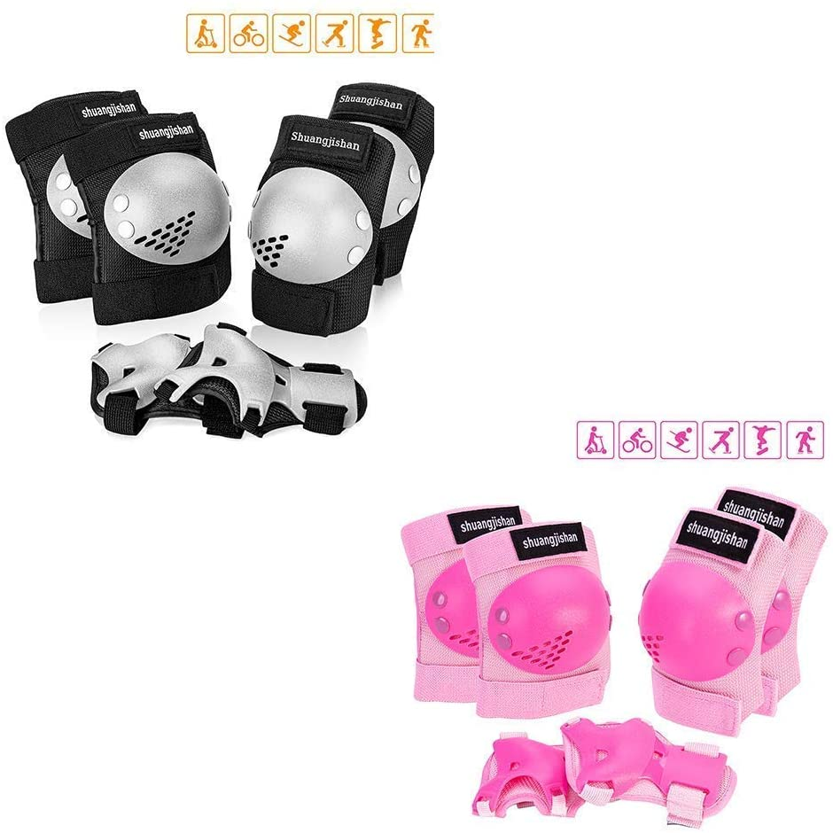 JUANANIUG Knee Pads for Kids/Youth, 6-in-1 Sports Knee Elbow Wrist Pads Guards(Black M + Pink M)