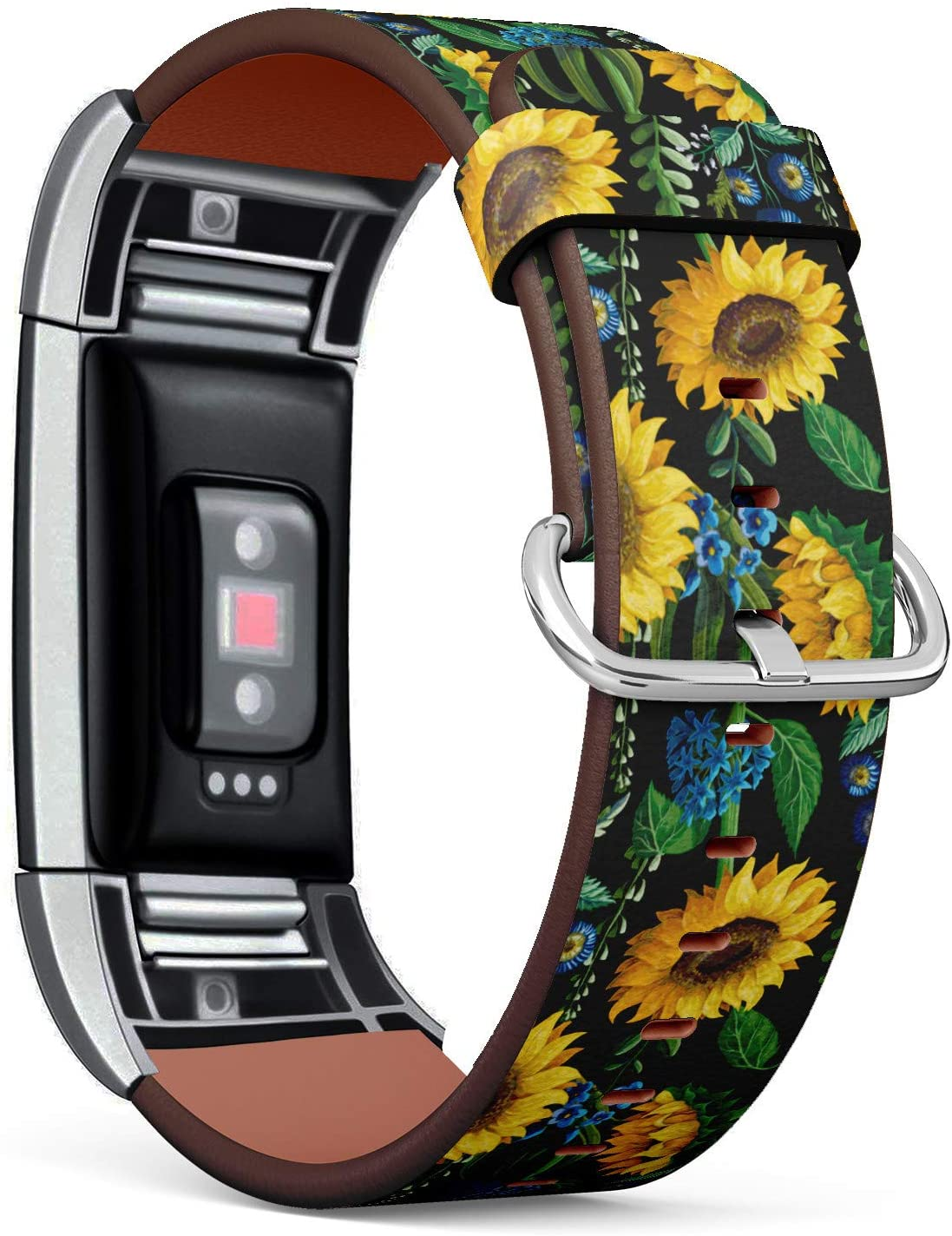 Sunflower Floral Pattern - Patterned Leather Wristband Strap Compatible with Fitbit Charge 2