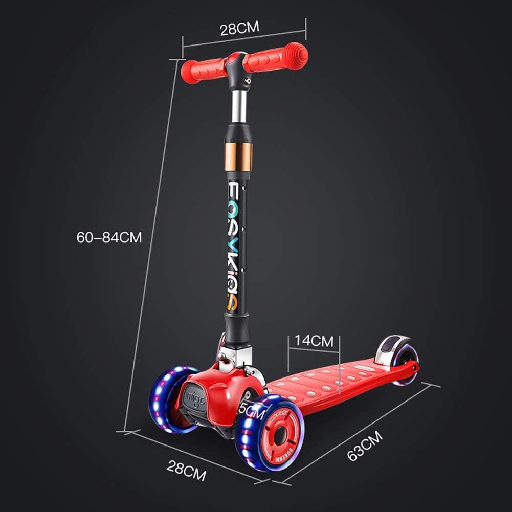 PLLP Child Foldable Scooter-Scooter Kick Folding Kids with Pu Flashing Wheel, Adjustable Handlebar, Shock Absorbing Board for 2-13 Teens, Rear Brake, 100Kg Bearing,Pink