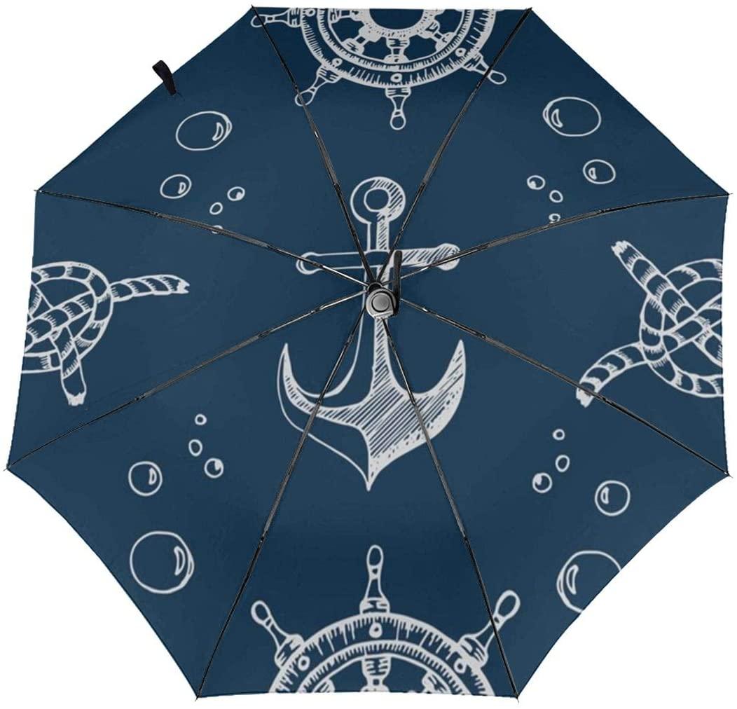 CHAN03 Nautical Theme Blue Automatic Tri-fold Sunscreen Umbrellas Folding Umbrella