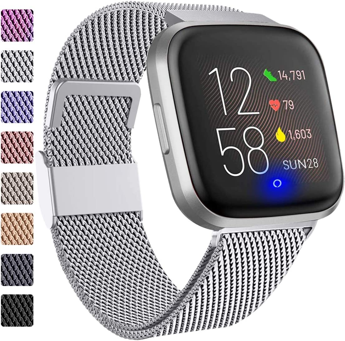 ZWGKKYGYH Compatible with Fitbit Versa and Versa 2 Bands for Women Men, Stainless Steel Mesh Metal Band Replacement for Fitbit Versa/Versa Lite Smart Watch, Silver Small