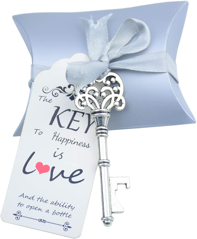 Aokbean 50 Sets Skeleton Key Bottle Openers Wedding Party Favors Souvenir Pillow Candy Box Vintage Escort Gift Card and Ribbon (Silver)