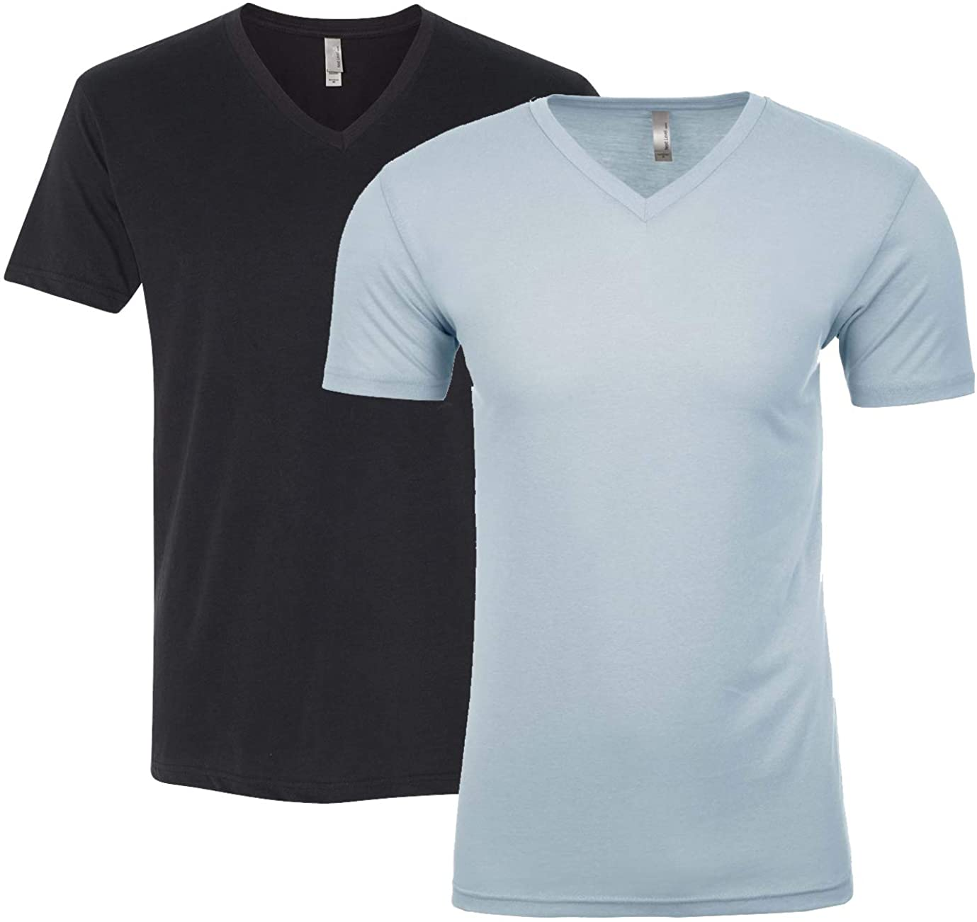 Next Level Apparel 6440 Mens Premium Fitted Suided V-Neck, Black + Light Blue (2 Shirts)-Large