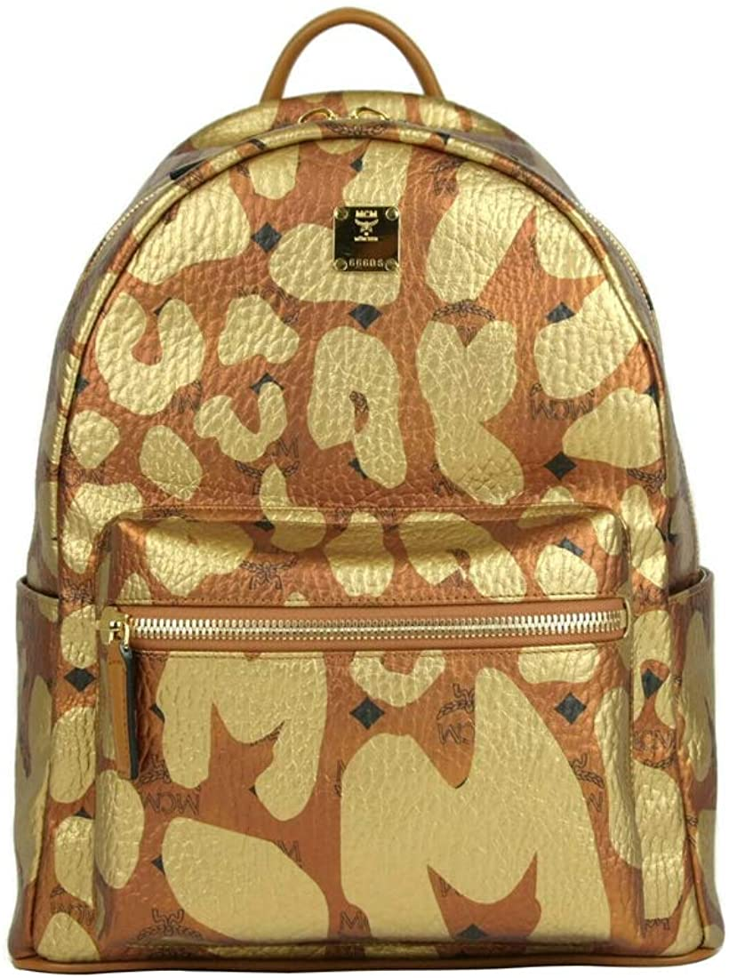 MCM Unisex Copper/Gold Coated Canvas Leopard Print Medium Backpack MMK8AVE13CO001