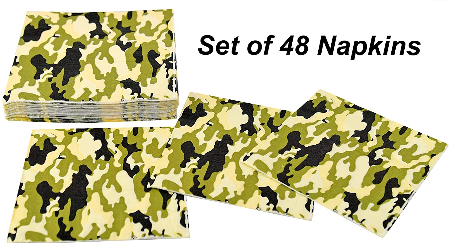HOME-X Camouflage Square Disposable Party Napkins, 48 Count- 6.5